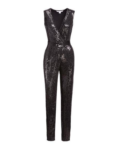 Orianna Sequined Wrap Jumpsuit