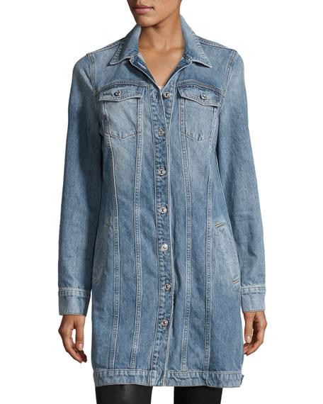 Long Trucker Denim Jacket, Light Brighton Blue