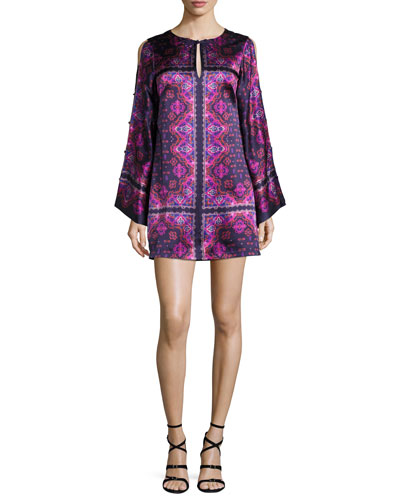 Printed Silk Satin Shift Dress, Eggplant/Multicolor