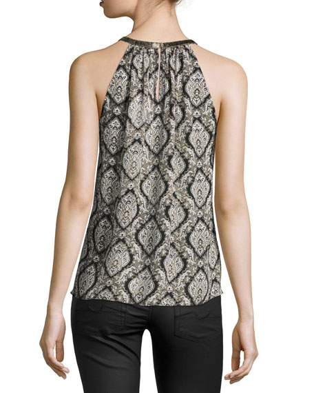 Francis Halter-Neck Printed Silk Blouse, Dusty Pink Sand