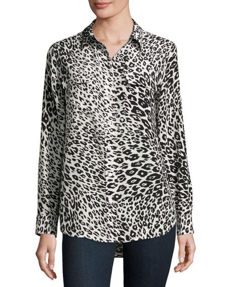 Slim Signature Animal-Print Shirt, Nature White/True Black