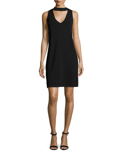 Sleeveless Structured Stand-Collar Shift Dress, Black