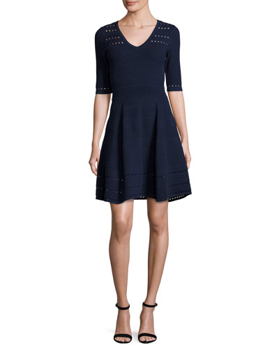 Textured Half-Sleeve Mixed-Stitch A-line Dress, Navy