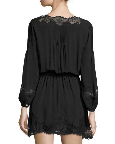 Branco Lace-Trim Silk Dress, Caviar