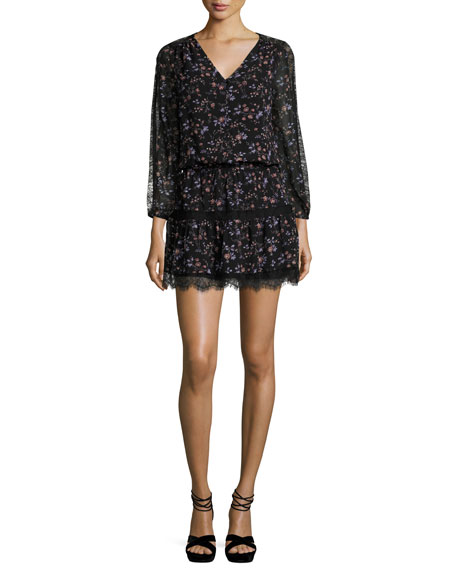 Joie Auggie Lace-Trim Floral-Print Blouson Dress