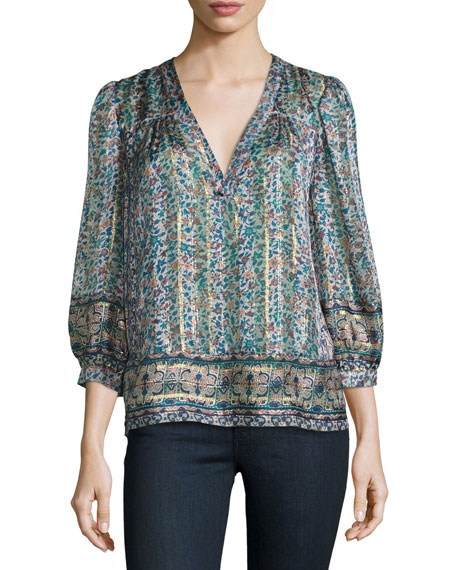 Joie Frazier Mixed-Print Silk Blouse, Dusty Mink