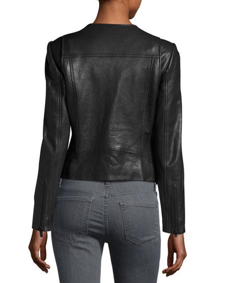 Zippora Lambskin Moto Jacket, Caviar