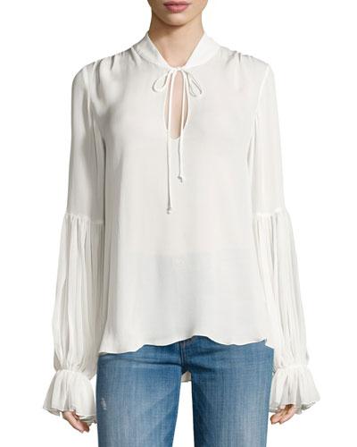 Carver Long-Sleeve Silk Tie-Front Blouse, Swan
