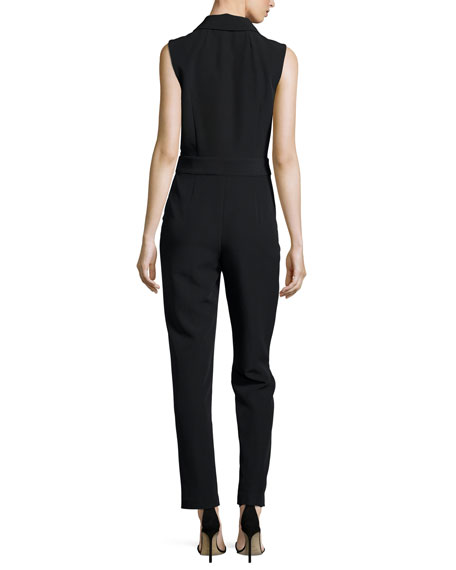 Sleeveless Tuxedo-Collar Jumpsuit, Black
