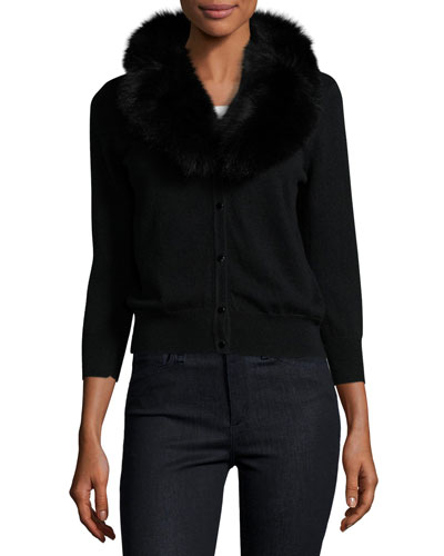 V-Neck Wool Cardigan w/ Fox Fur Collar, Black
