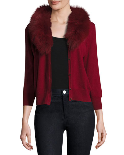 V-Neck Wool Cardigan w/ Fox Fur Collar, Bordeaux