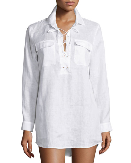 Tory Burch Lace-Up Tunic, White
