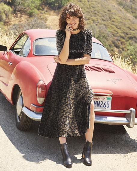 Liane Floral Velvet Midi Dress