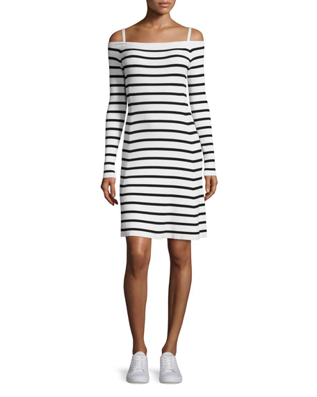 Theory Pirellia Prosecco Striped Cold-Shoulder Dress