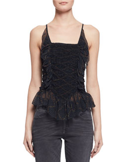 Bowen Ruched Patterned Silk Tank, Black