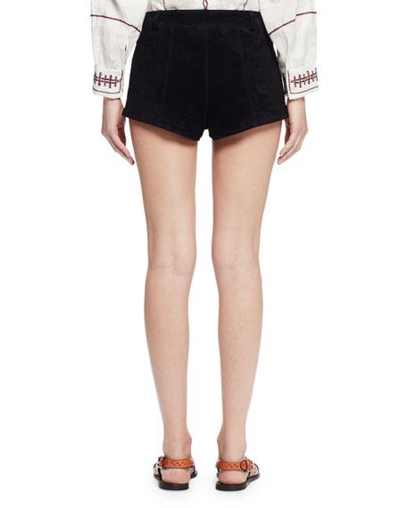 Danton Suede Tie-Front Shorts, Black