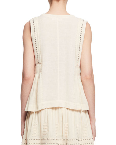 Adonis Sleeveless Studded Jersey Top