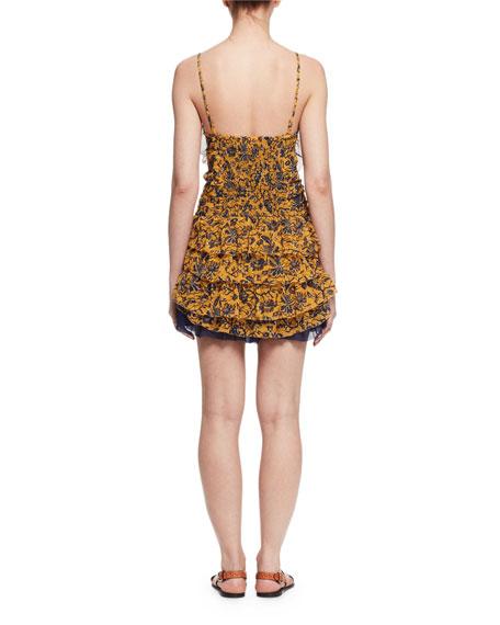 Batson Tiered Floral Silk Mini Dress, Yellow