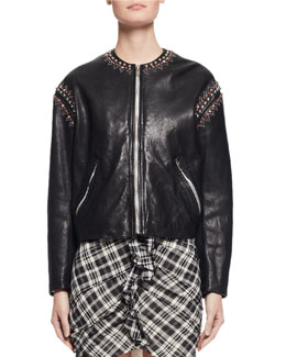 Buddy Studded Leather Jacket, Black