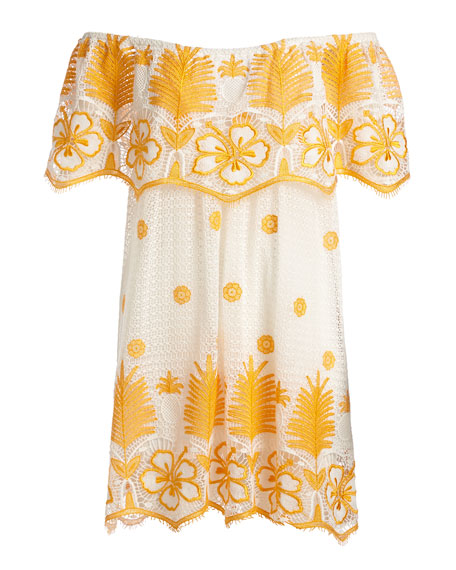 Angelique Off-the-Shoulder Tropical Lace Coverup Dress, White with Mango