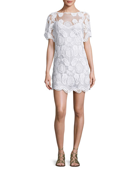 Miguelina Grace Crochet-Overlay Coverup Dress, Pure White