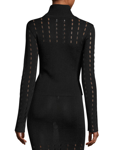 Cathie Pointelle Turtleneck Top, Black