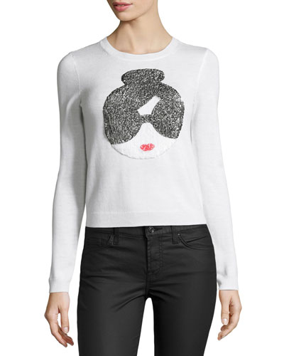 Stace Face Peekaboo Sequined Sweater
