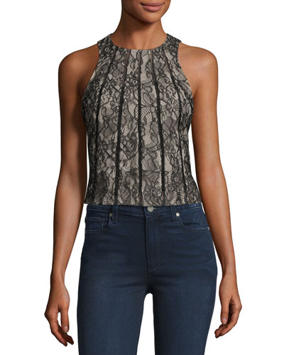 Sleeveless Paneled Lace Crop Top, Black