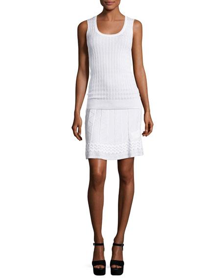 Zigzag-Knit A-line Skirt, White