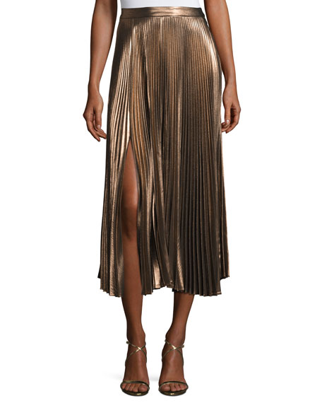 Bobby Pleated Lamé Midi Skirt, Rose Gold
