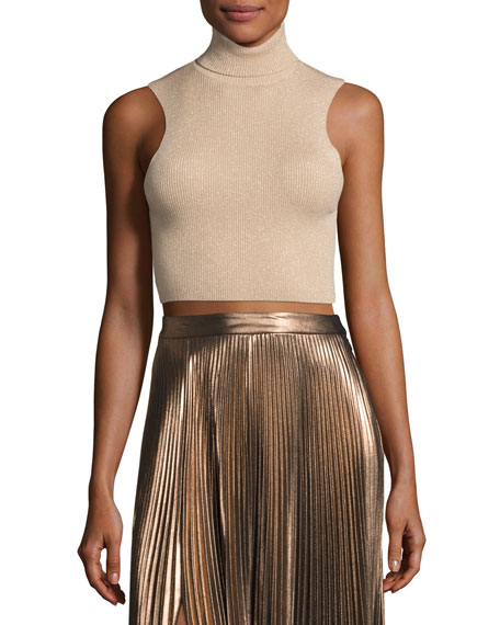 Presley Sleeveless Ribbed Metallic Crop Top, Bisque/Gold