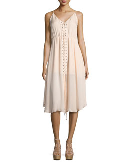 Sleeveless Laced Silk Dress, Ballet
