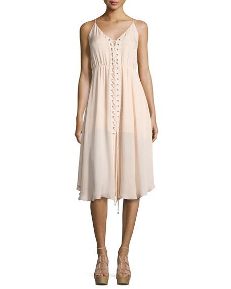 Sleeveless Laced Silk Dress, Ballet