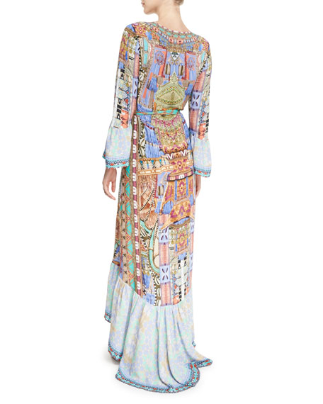 Bell-Sleeve Printed Wrap Maxi Dress, Go Your Own Way