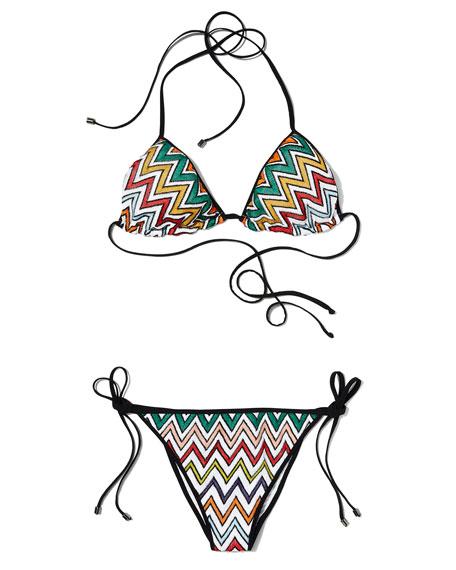 Zigzag Triangle Bikini Set, Multicolor
