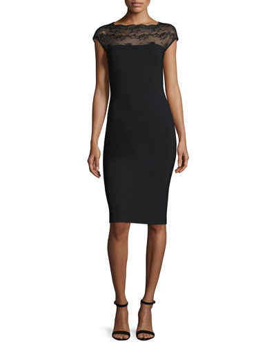 Ilmes Lace-Trim Sheath Dress, Nero