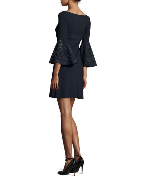 Bell-Sleeve Ponte A-Line Dress, Dark Navy