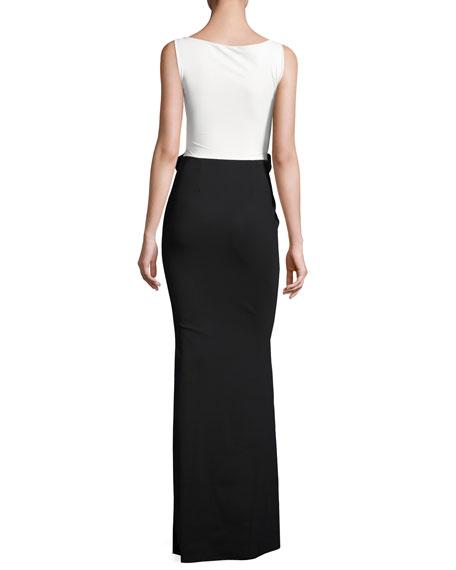 Sleeveless Two-Tone Jersey Column Gown, Black/White