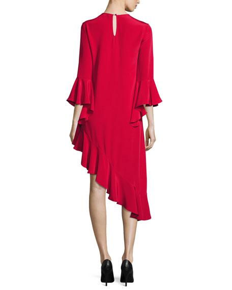 Hazel Ruffle-Trim Asymmetric Dress