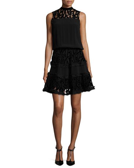 Sterling Velvet-Lace Blouson Dress