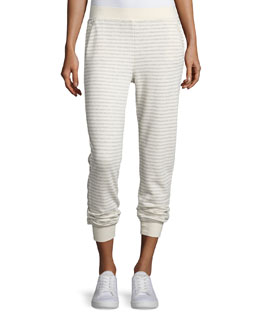 Straight-Leg Striped Sweatpants, Heather Gray/Oatmeal