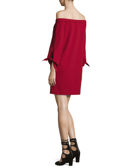 Cold-Shoulder Tie-Sleeve Crepe Mini Dress, Crimson Red