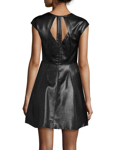 Cap-Sleeve Metallic Jersey Fit-and-Flare Dress, Black