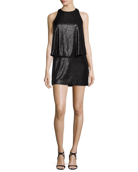Halston Heritage Sleeveless Sequined Mini Dress, Black