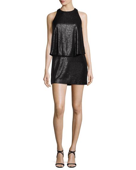 Sleeveless Sequined Mini Dress, Black