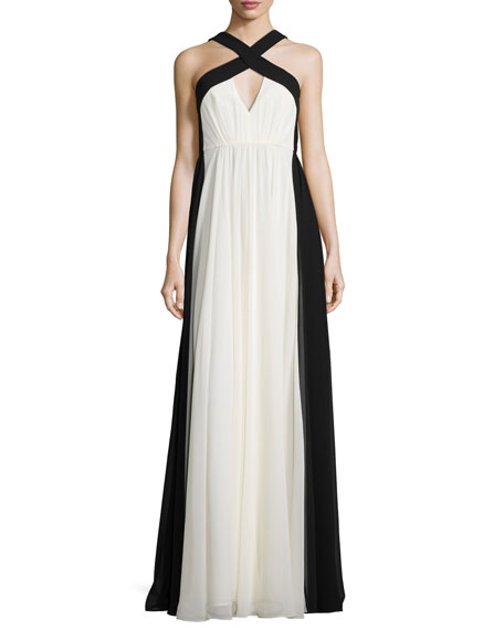 Halston Heritage Sleeveless Colorblock Chiffon Gown, Chalk/Black