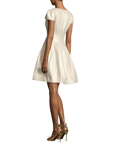 Cap-Sleeve Metallic Structured Faille Dress, Pale Gold