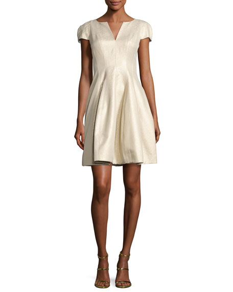 Halston Heritage Cap-Sleeve Metallic Structured Faille Dress,