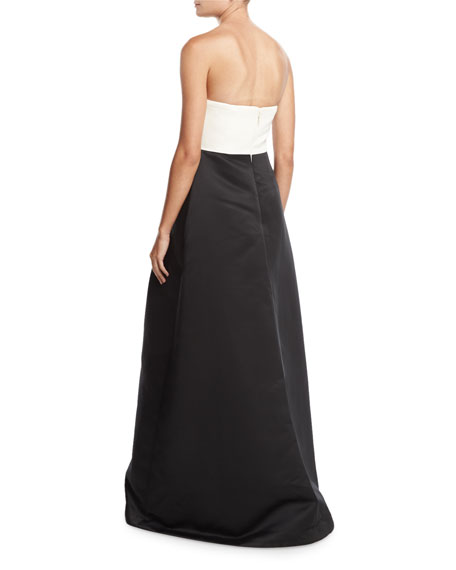 Strapless Overlap Two-Tone Ball Gown, Black/Chalk
