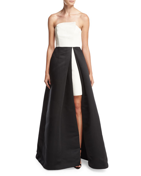 Halston Heritage Strapless Overlap Two-Tone Ball Gown,